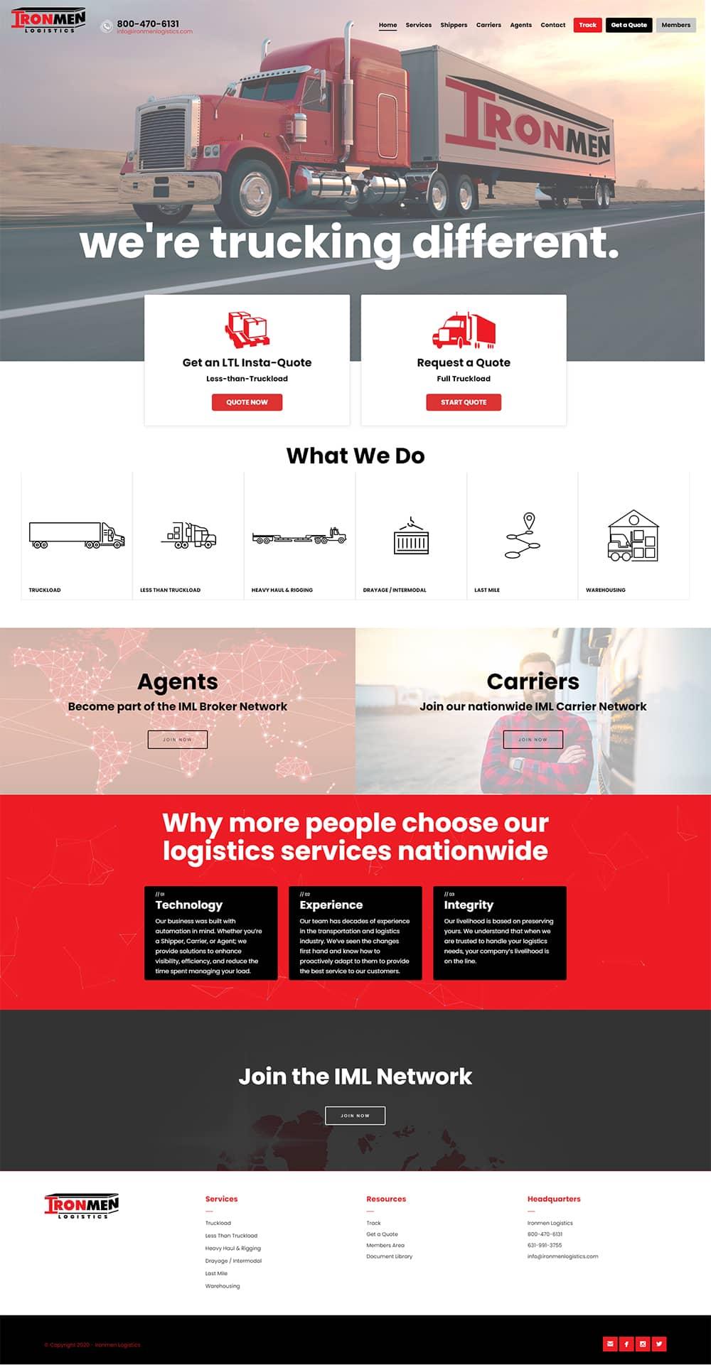 ironmen logistics web design